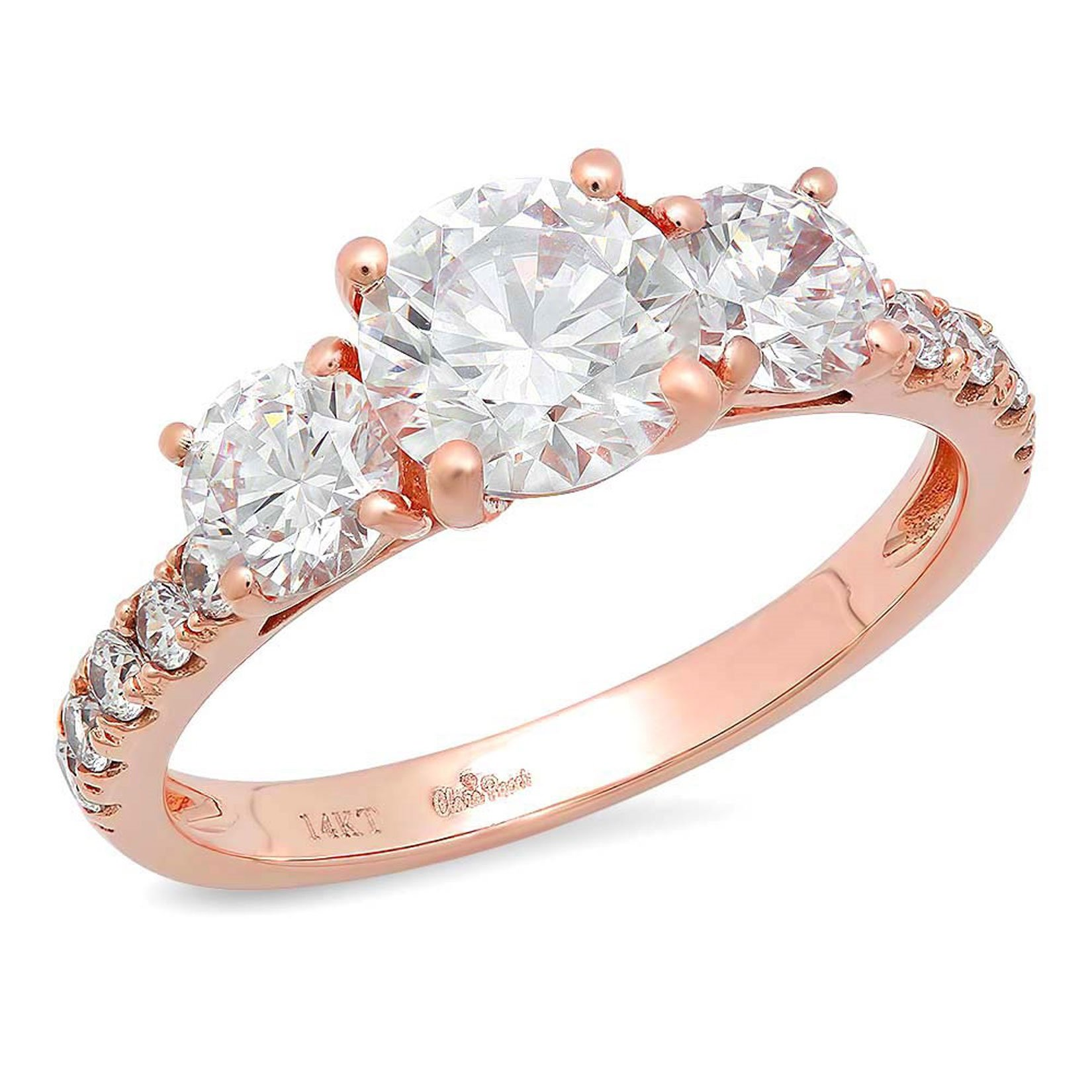 Clara Pucci 1.9 CT Round Cut Pave Three Stone Accent Bridal Engagement Wedding Band Ring 14K Rose Gold, Size 9