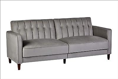 "Container Furniture Direct SB-9031 Anastasia Mid Century Modern Velvet Tufted Convertible Sleeper Sofa, 81"", Grey"
