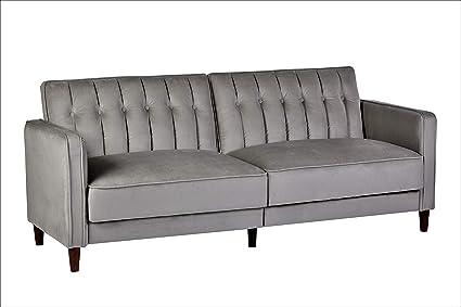 Container Furniture Direct SB-9031 Anastasia Mid Century Modern Velvet  Tufted Convertible Sleeper Sofa, 81\