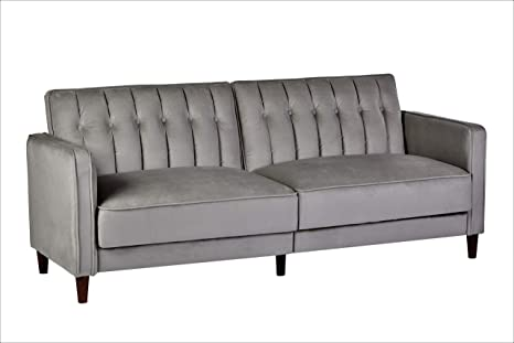 Container Furniture Direct Sb 9031 Anastasia Mid Century Modern Velvet Tufted Convertible Sleeper Sofa 81 Grey