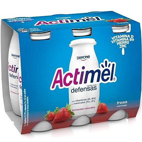 Danone Actimel Yogur Líquido con Fresas - Pack de 6 x 100 g - Total: