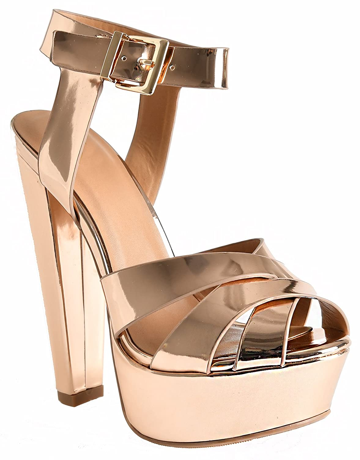 LUSTHAVE Women's Gigi Ankle Strap Cross Front Platform Ultra High Heel Dressy Casual Sandals by B071P8RHZC 10 B(M) US|Rosegold