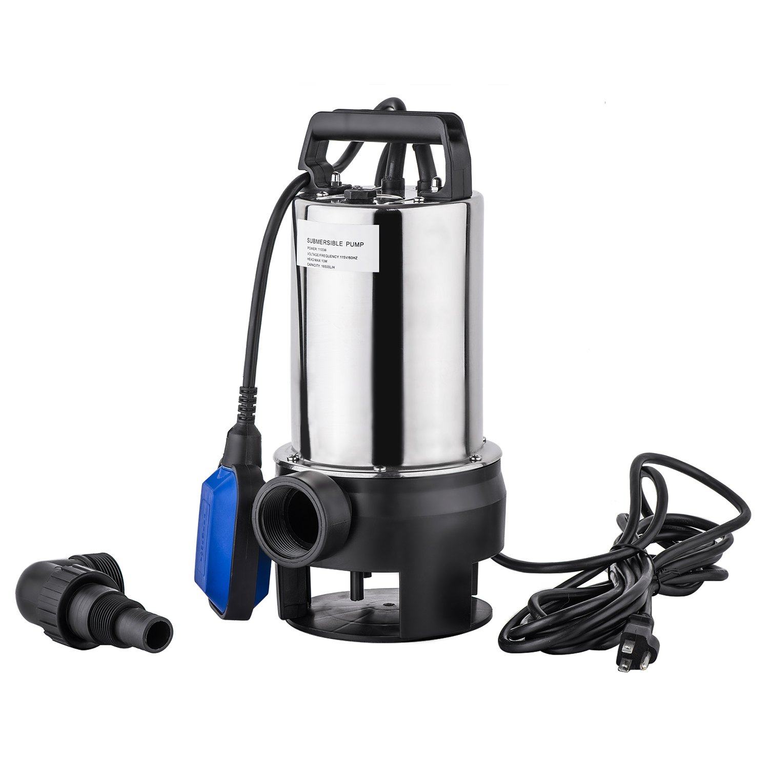 1.5 HP Stainless Steel Submersible Pump, Sump Pump, Dirty Clean Water Pump w/15ft Cable and Float Switch [US STOCK] (1.5 HP)