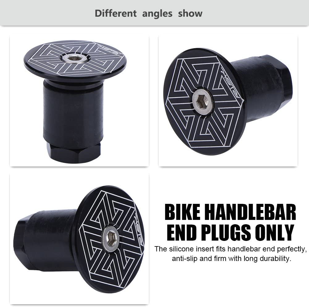 Dilwe 2 Pcs Bike Handlebar Bar End Plugs Aluminum Bicycle Comfortable Handlebar Rubber Grips Accessory for Most Bicycle