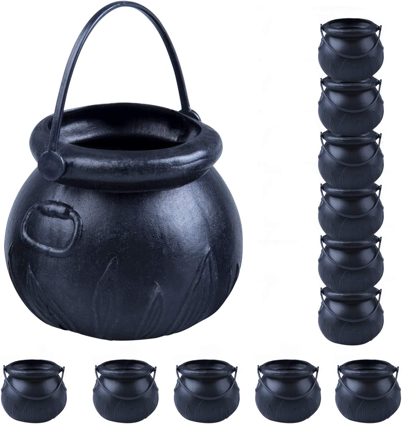 YUNGCHI Plastic Mini Cauldron, Black Witch Cauldron, Witches Cauldron Candy Holder Pot With Handle For Halloween Party Decorations Supplies,Set of 12