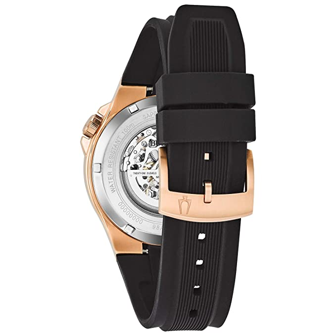 07e805ceb84 Amazon.com  Bulova Men s Stainless Steel Automatic-self-Wind Watch with  Silicone Strap