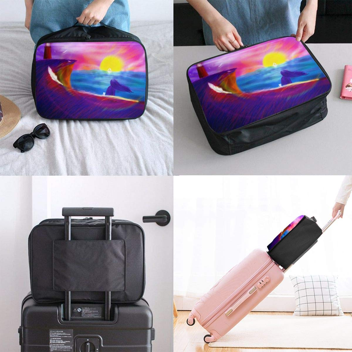 Woman In Sunset At Sea Travel Lightweight Waterproof Foldable Storage Carry Luggage Duffle Tote Bag Large Capacity In Trolley Handle Bags 6x11x15 Inch
