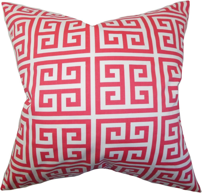 The Pillow Collection Paros Greek Key Bedding Sham Gray White King//20 x 36