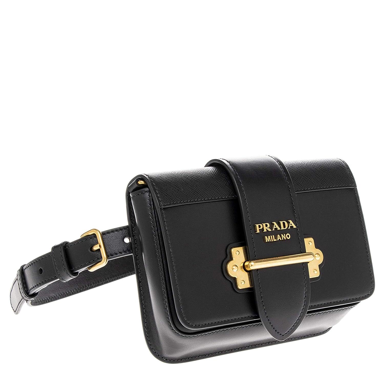 b673384c9afd Amazon.com  Prada Black Cahier Calf Leather Belt Bag with Chain Shoulder  Strap  TheLuxuryClub