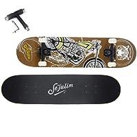 Sefulim Planche à roulettes Crânes ABEC-7 roulements avec Roue PU pour Les Enfants Jeunes Adultes et Professionnels Table en Plastique Renforcé Skateboard Débutant