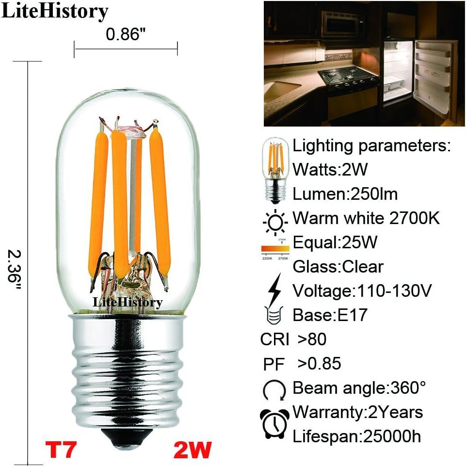 LiteHistory E17 led Bulb ETL 25w Appliance t7 led Bulb 250lm 2700K 2w Microwave