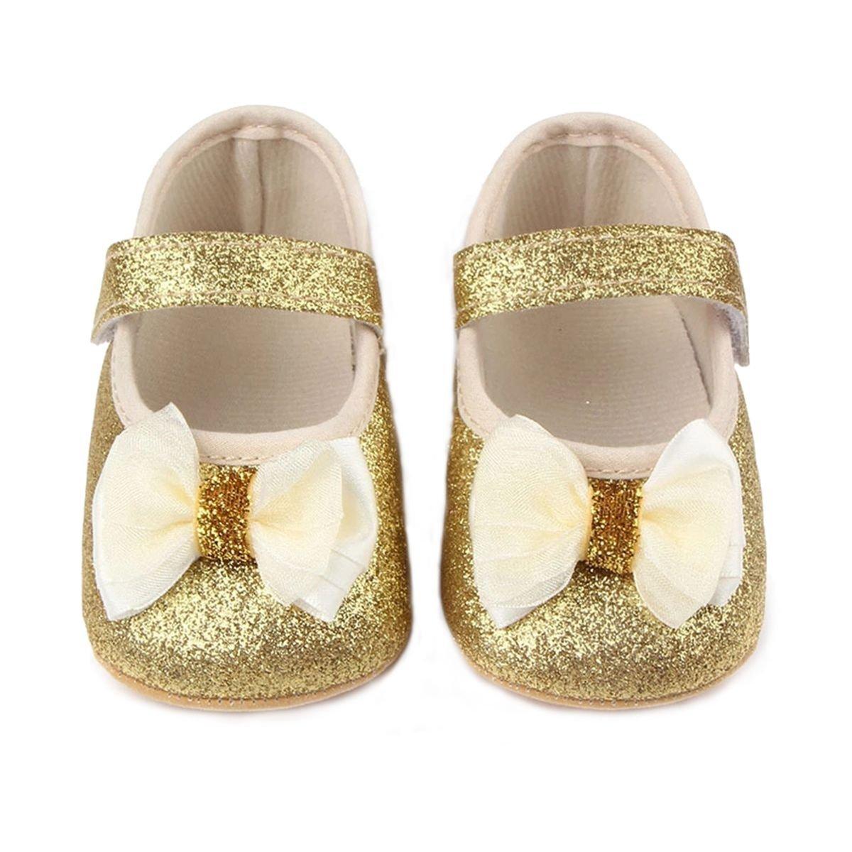 M2cbridge Baby Girl's Bow Dress Shoe Infant Toddler Pre-walker Crib Shoe (0-6 Months, Fine Glitter B)