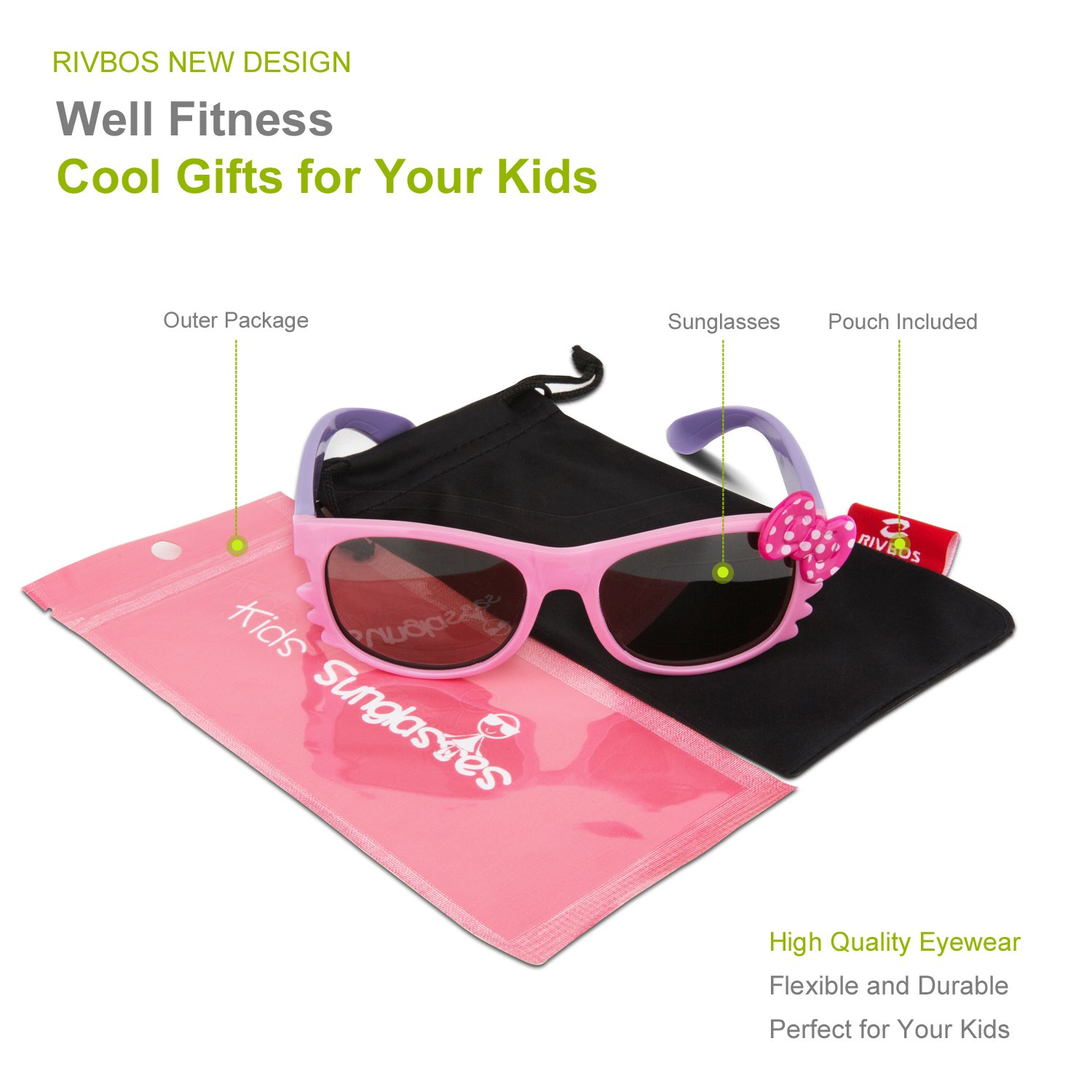 aaec5d67c87 RIVBOS RBK002 RUBBER Flexible Kids Polarized Sunglasses for Baby and ...