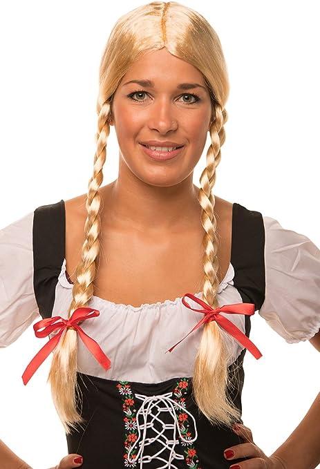 HEIDI/Gretel peluca rubio con trenzas y lazos rojos, para hombre y ...
