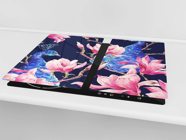 Concept Crystal Tagliere in Vetro temperato o Due Pezzi 30x52 cm ognuno Tagliere e Proteggi-Piano di Lavoro in Vetro Resistente ; D15 Serie Disegni: Acqua 3 Pezzo Unico 60x52 cm