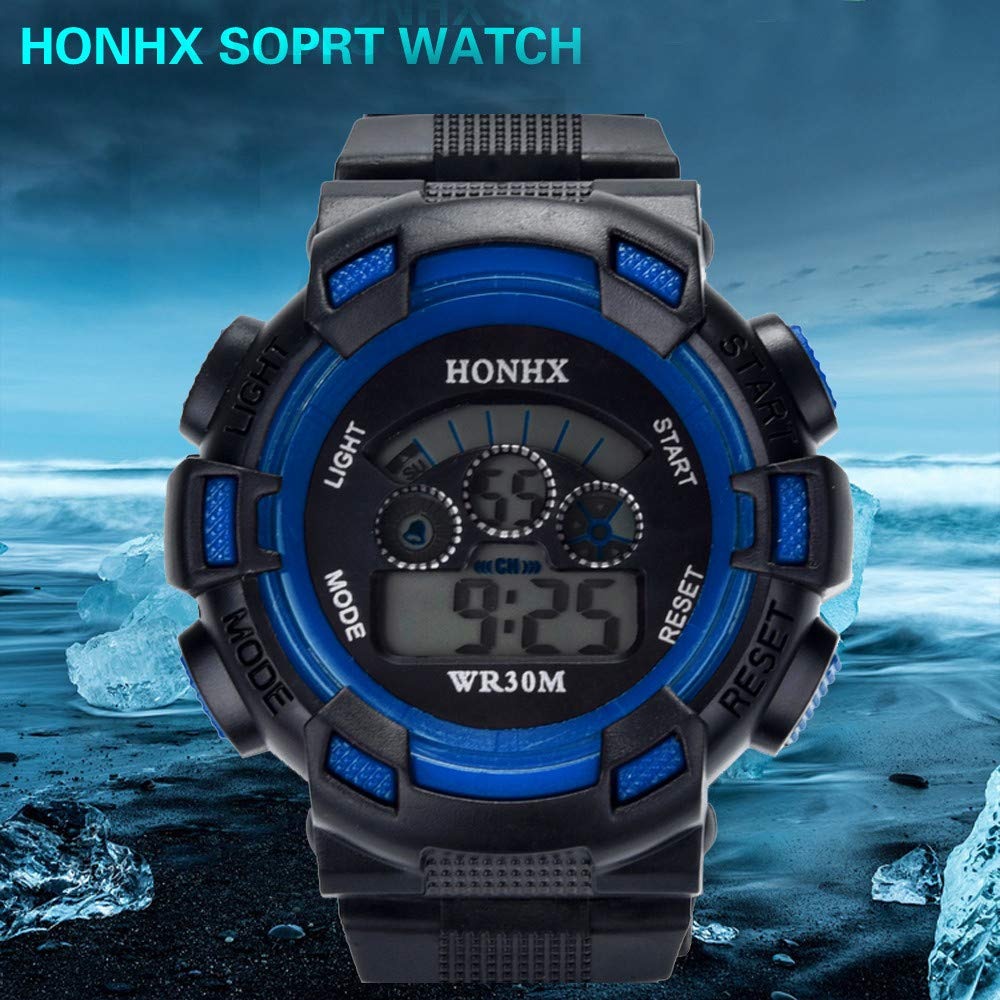 XBKPLO Digital Sports Watches for Kids Boys- Fashion Wrist LED Digital Waterproof Outdoor Silicone Band Alarm (Blue) by XBKPLO (Image #5)