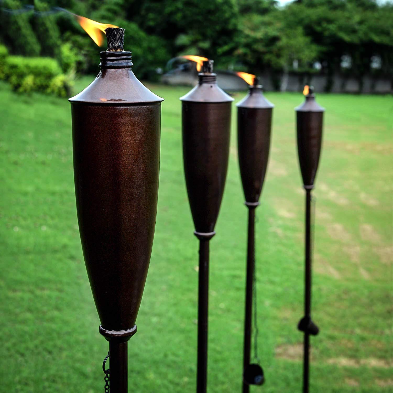 Deco Home Set of 4 60-inch Citronella Garden Outdoor/Patio Flame Metal Torch- Bronze Oil Rubbed