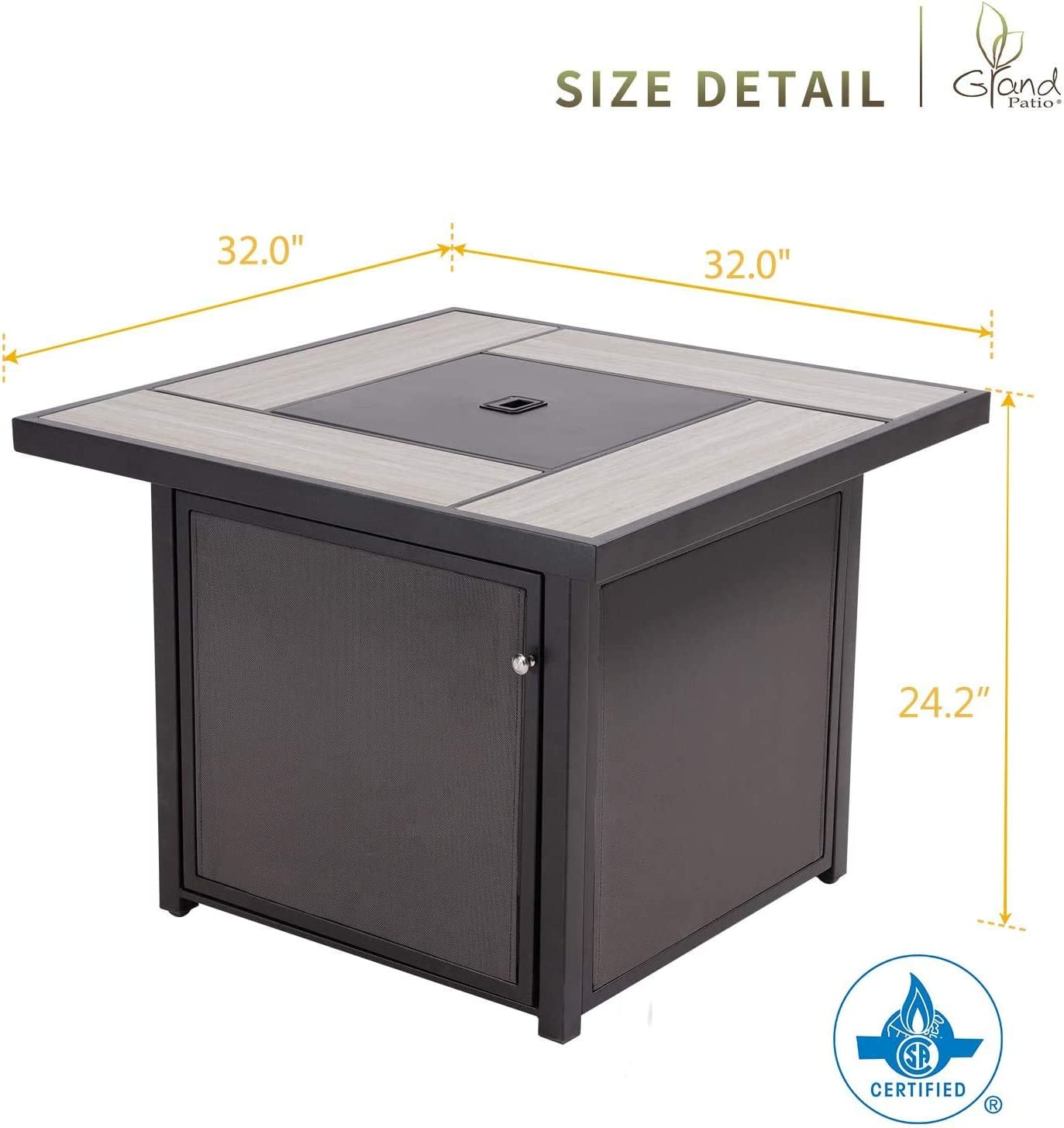 Grand patio Outdoor 32 Inch Propane Gas Fire Pit Table