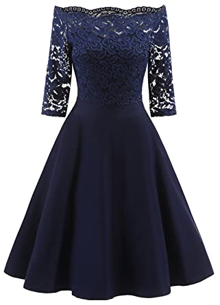 La vogue Damen 50er Vintage Kleid Off Schulter Spitze Abendkleid Knielang  Cocktail Partykleid  Amazon.de  Bekleidung 9bba836caa