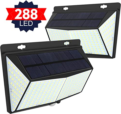 Solar Lights Outdoor 288 LED, Solar Powered Motion Sensor Security Light Outdoor with 300 Lighting Angle IP65 Waterproof Hanging Solar Light for Pathway Garden Fence Walkway 2 Pack 3 Modes