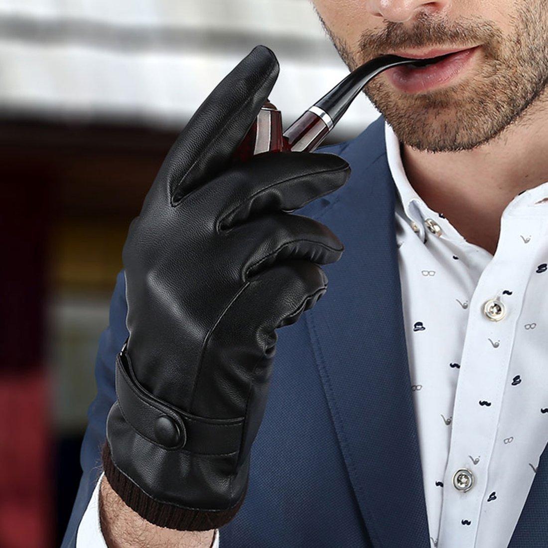 LAOWWO Guantes de cuero de la PU para hombre Guantes de pantalla táctil Guantes de conducción Guantes de invierno negro cálido con forro de gamuza ...