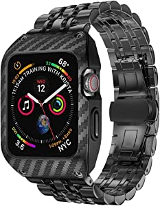 EloBeth Compatible with Apple Watch Band 44mm Series 6/5/4 & Apple Watch SE 44mm Band,Men Stainless Steel Bands with Carbon Fiber Patter Protective Case for iWatch 44mm Series 4/5/6 (Black/Black)