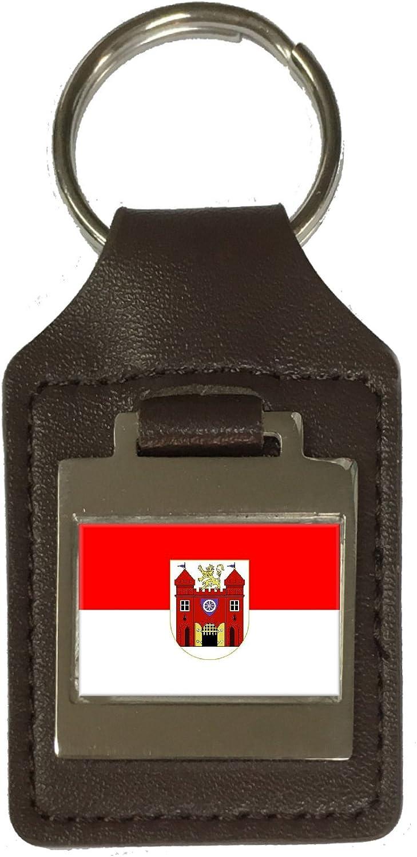 Leather Keyring Engraved Liberec City Czech Republic Flag