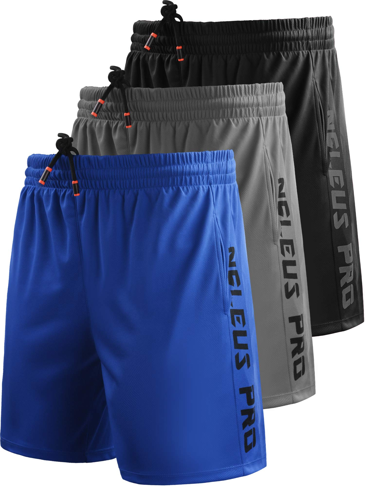 Neleus Men's 7'' Workout Running Shorts with Pockets,6056,3 Pack,Black,Grey,Blue,XS,EU S by Neleus