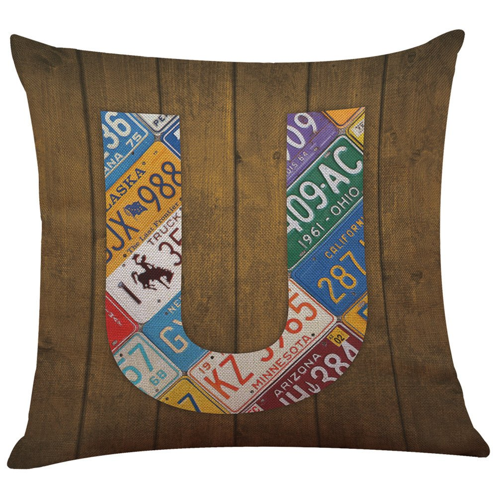 NUWFOR Home Decor Cushion Cover English Alphabet Throw Pillowcase Pillow Covers(U)