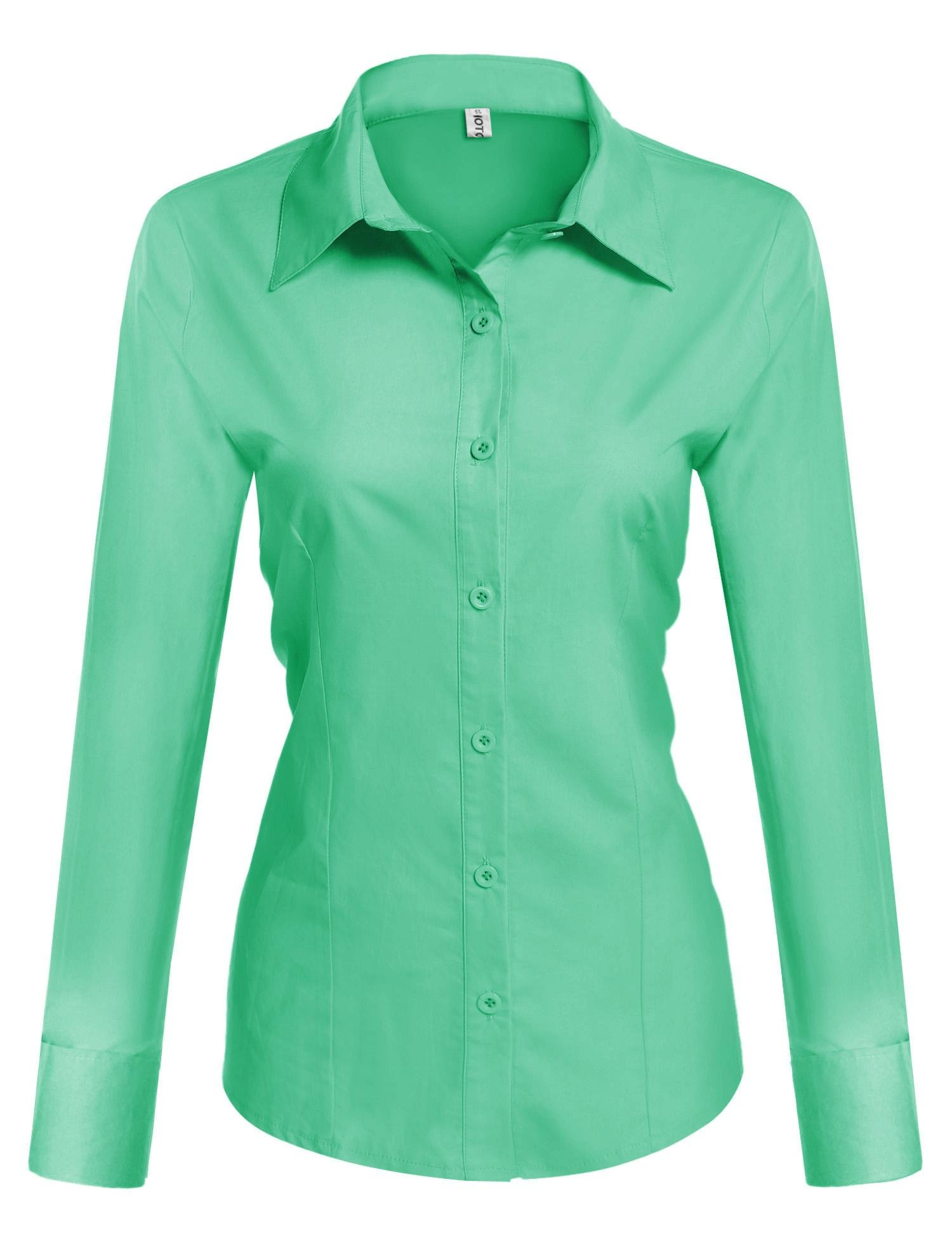 Hotouch Junior's' Long-Sleeve Stretch Oxford Blouse (Green XL)