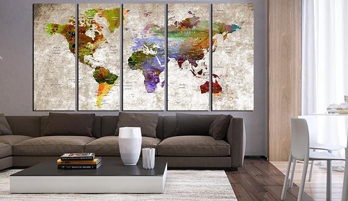 Amazon.com: Extra Large World Map Print Wall Art Canvas Set Multi ...