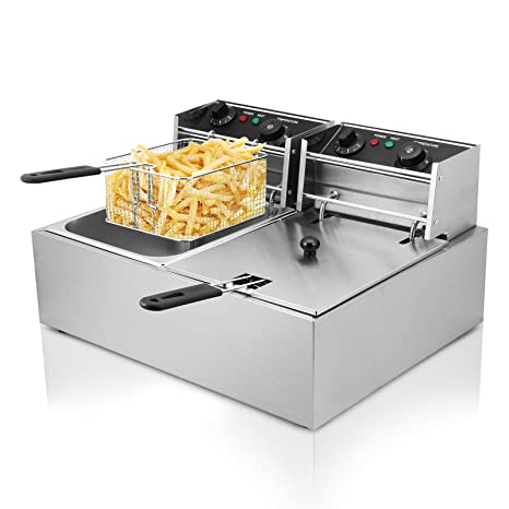 Autocompra Freidora Eléctrica 20L 5000W Freidora Industrial Acero Inoxidable para Patatas Fritas Deep Fryer Commercial (10L + 10L Tanque)