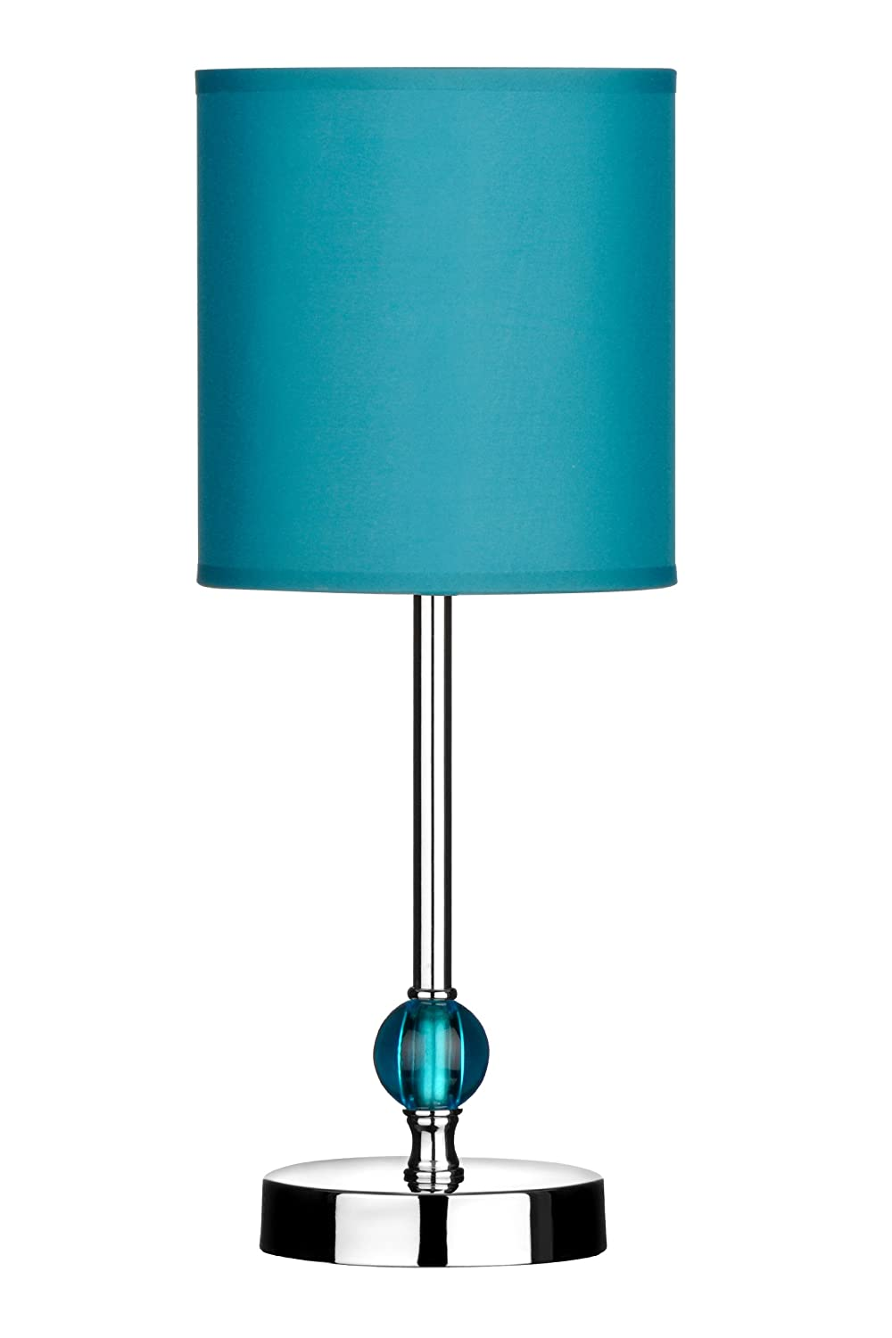 Premier Housewares Chrome Stem Table Lamp With Acrylic Ball And Fabric  Shade   Teal: Amazon.co.uk: Lighting