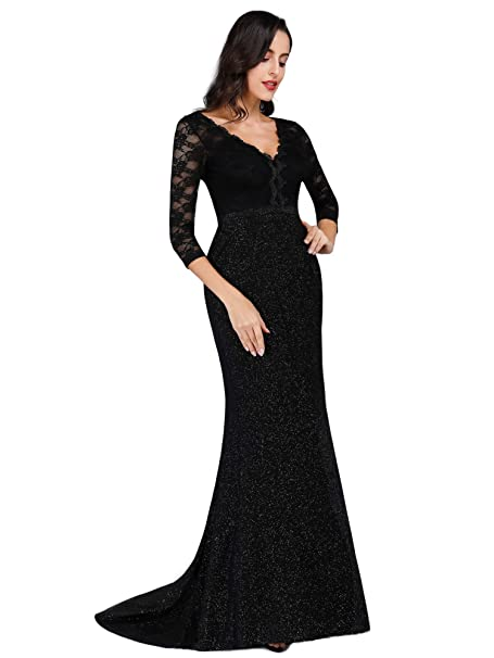 e989c7e6 Ever Pretty Women's V Neck with Long Lace Sleeve Floor Length Formal  Evening Dress Black 8UK