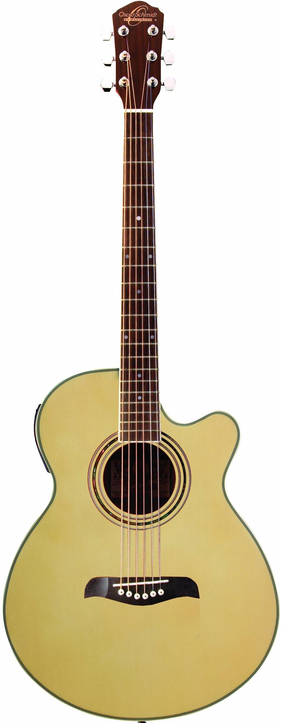 Oscar Schmidt OG10CEN-A-U Concert-Size Cutaway Acoustic-Electric Guitar - Natural