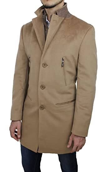 Cappotto Uomo Sartoriale Beige Casual Elegante Giaccone