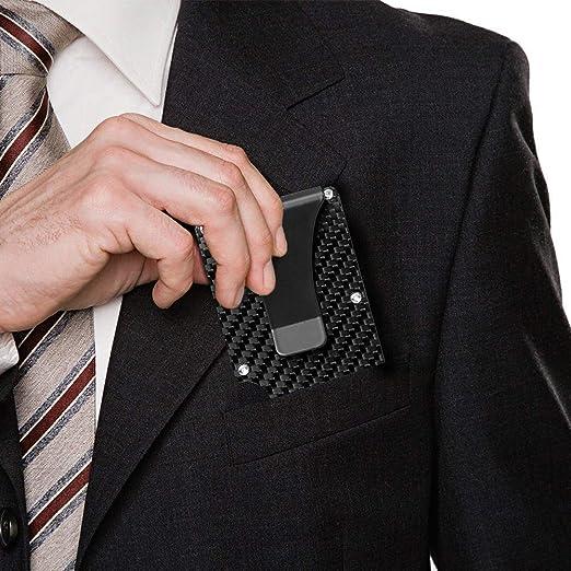 Cartera de Fibra de Carbono, Estilo de Hombre de Moda de Metal Ultra Delgado con tecnología de protección de Tarjeta de crédito RFID, Adecuada para ...