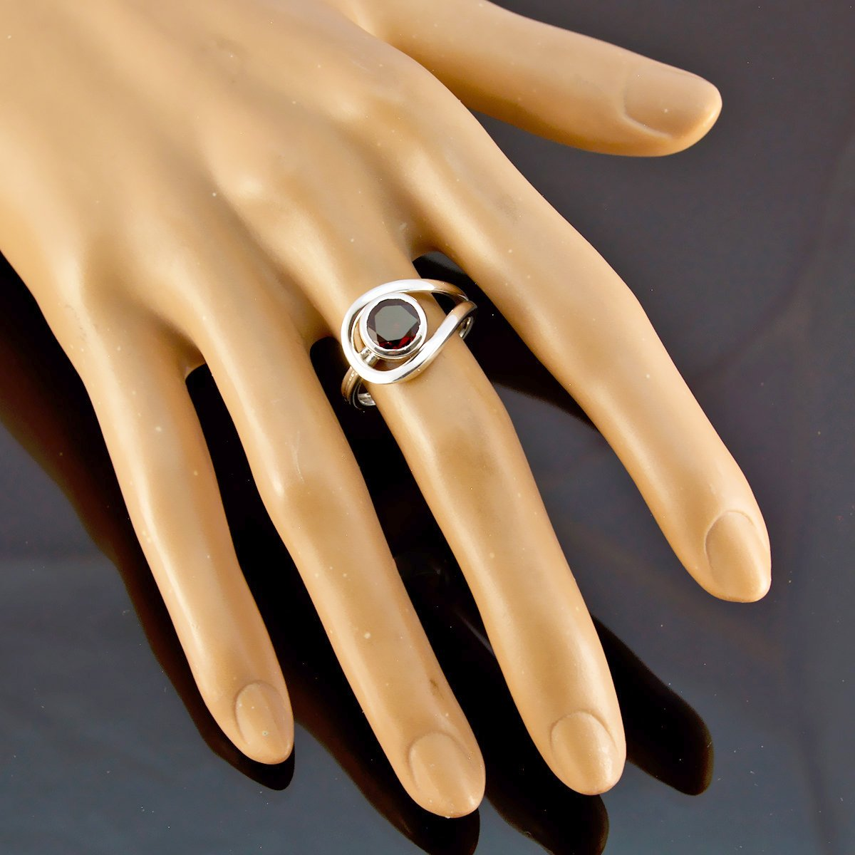 Nice Gemstone Round Faceted Garnets Rings - Solid Silber Red Garnets Nice Gemstone Ring - Supply Jewelry top Selling Shops Gift for Teachers Day Modern Stacking Ring -US 14.5 by RGPL (Image #2)