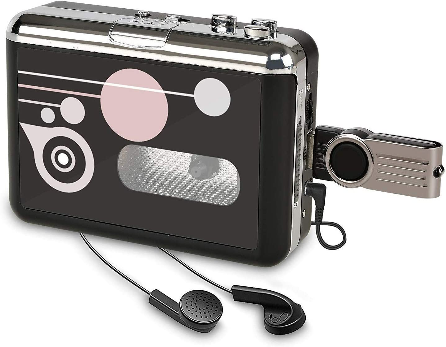 Rybozen Cassette Player, Portable Cassette Converter Recorder Convert Tapes to Digital MP3 Save into USB Flash Drive/ No PC Required Black