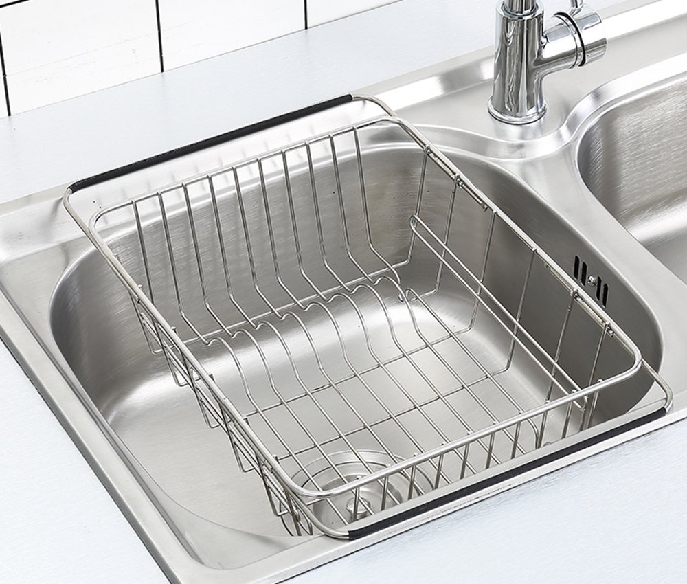 Adjustable Dish Drying Rack Over Sink, SZUAH 304(18/8) Stainless Steel Dish Drainer, Dish Drying Organizer for Countertop & Sink