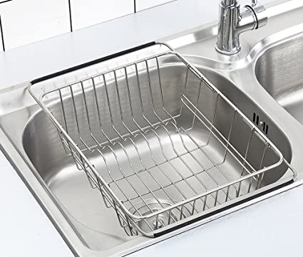 Merveilleux Adjustable Dish Drying Rack Over Sink, SZUAH 18/8 Stainless Steel Dish  Drainer,