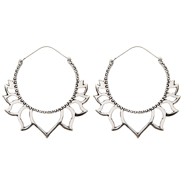 81stgeneration Women's Silver Tone Brass Large Lotus Flower Tribal Ethnic Hoop Earrings