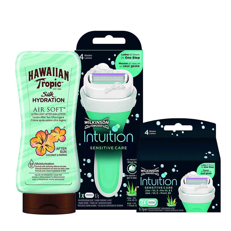 Wilkinson Sword - Intuition Sensitive Care Razor for Women + 3 Razor Blade Refills + Hawaiian Tropic Silk Hydration Air Soft After Sun Lotion Coconut & Papaya