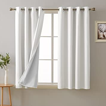 Amazoncom Deconovo 100 Percent White Blackout Curtains With 3 Pass