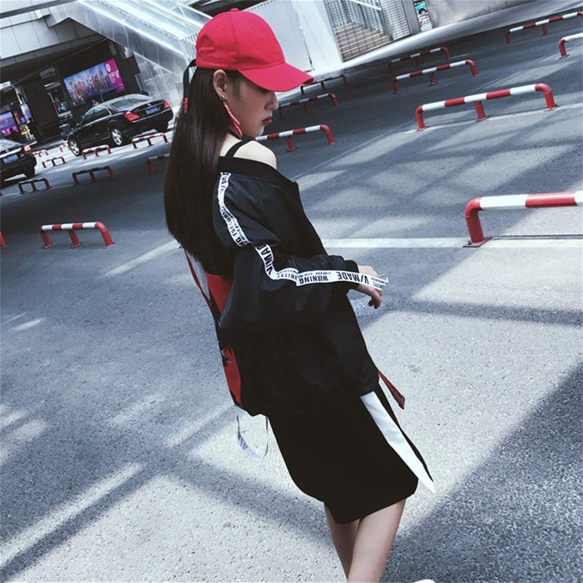 Chicas Costura de la Chaqueta de la Cinta de Manga Larga Color Blocking Uniforme de b/éisbol Harajuku Estilo Protector Solar de Patchwork Cremallera Prendas de Vestir Exteriores