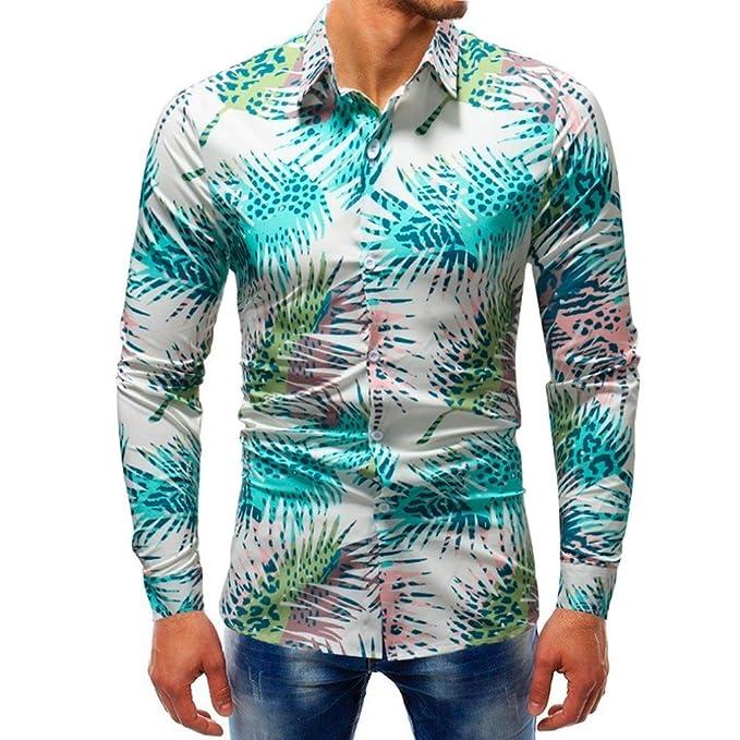 2c903b36 OWMEOT Mens Stylish Universe Galaxy Print Patched Long Sleeve Casual Slim  Shirt (Multicolor b,