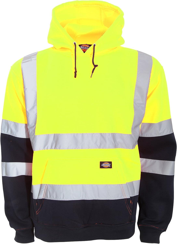 Dickies Mens Hi Vis Hi Viz Hoodie Sweatshirt Jumper Railway Work Two Tone Hoodie