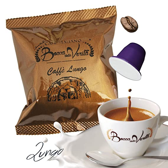 Café cápsula Espresso LUNGO (Largo) Nespresso compatible | 100 Cápsulas Bocca Della Verità |