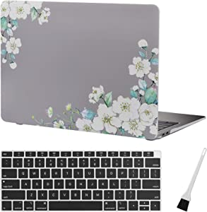 MacBook air 13 Inch Case A1932 Floral Plastic Laptop Hard Shell Cover Sleeve Matte Rubberized (2020 2019 2018 Release, Touch ID) with Silicon Keyboard Cover and Dust Brush (Floral Pattern-Grey)