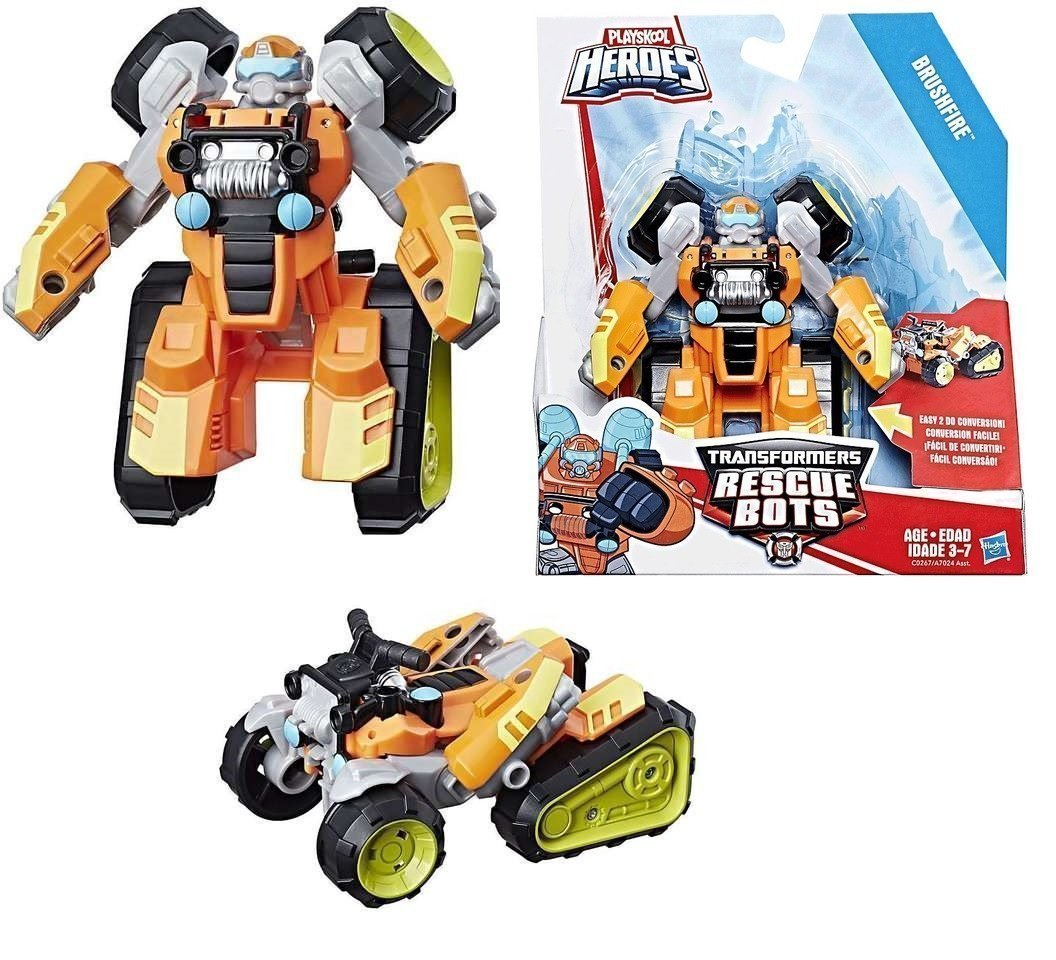 BRUSHFIRE Playskool Heroes Transformers Rescue Bots Converts from Robot Mode to Forest ATV Vehicle Mode and Back Hasbro